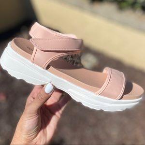 Black Vegan Leather & White Sole Athletic Sandals